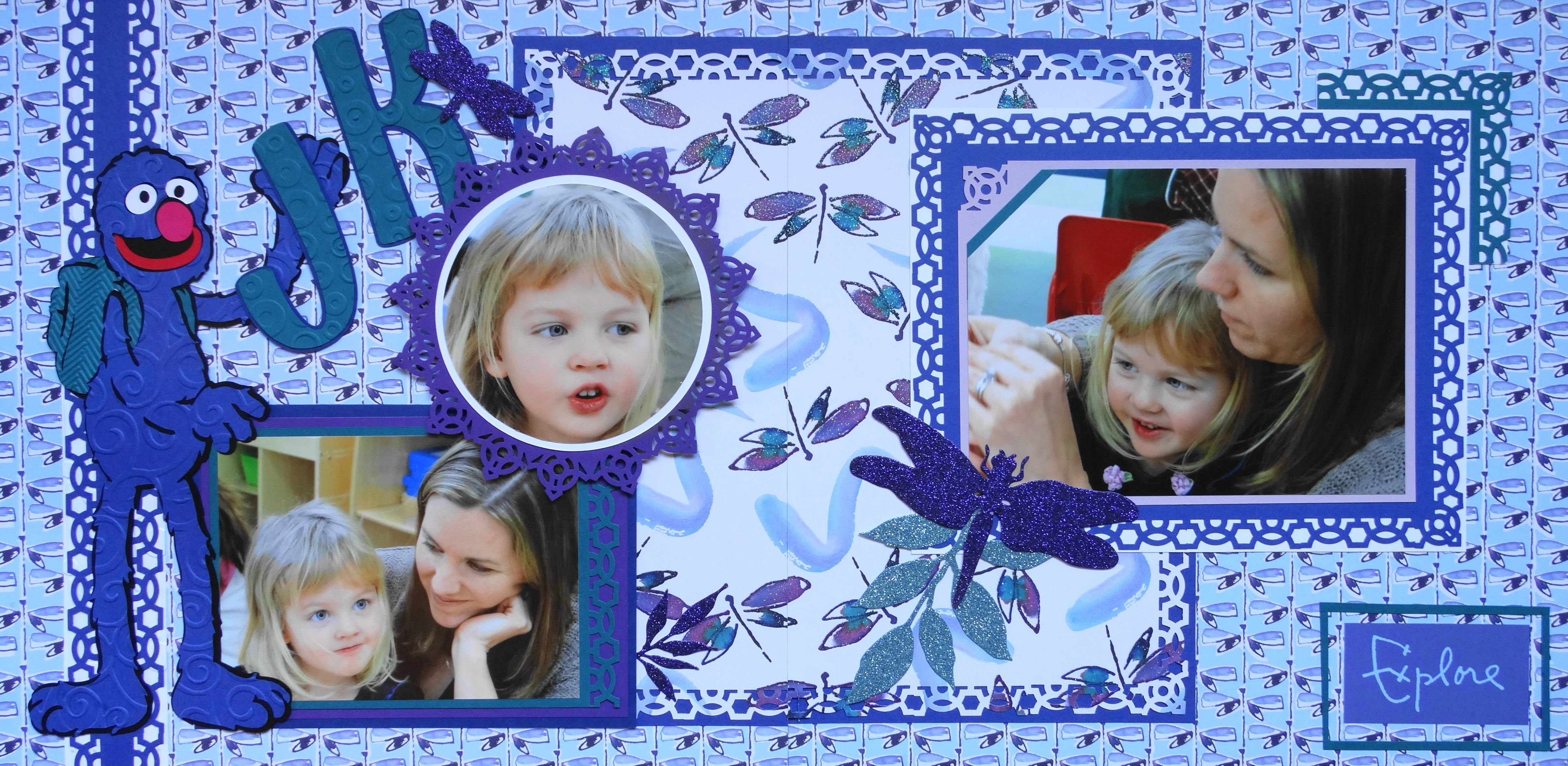 Scrapbook ideas kindergarten - Girl Scrapbook Page Junior Kindergarten Class 2 Page Child Layout With Dragonflies And Sesame