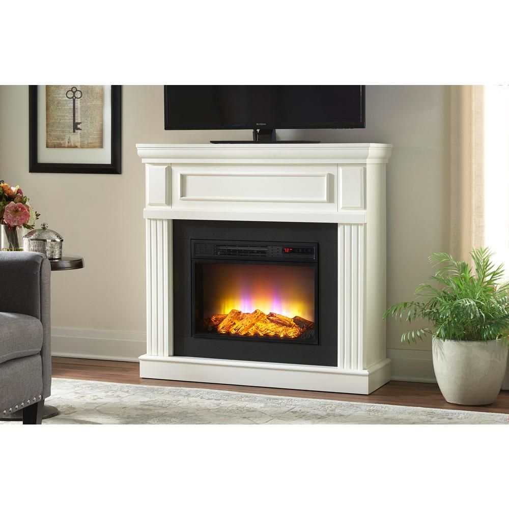 Grantley 40 In Freestanding Electric Fireplace In White White Electric Fireplace Freestanding Fireplace Electric Fireplace