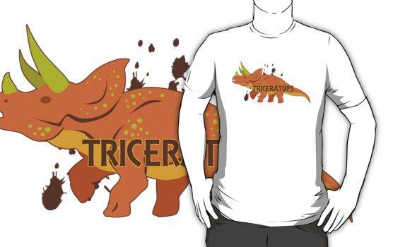 Triceratops T-Shirts #dinosaurs #jurassic #triceratops #orange #extinct