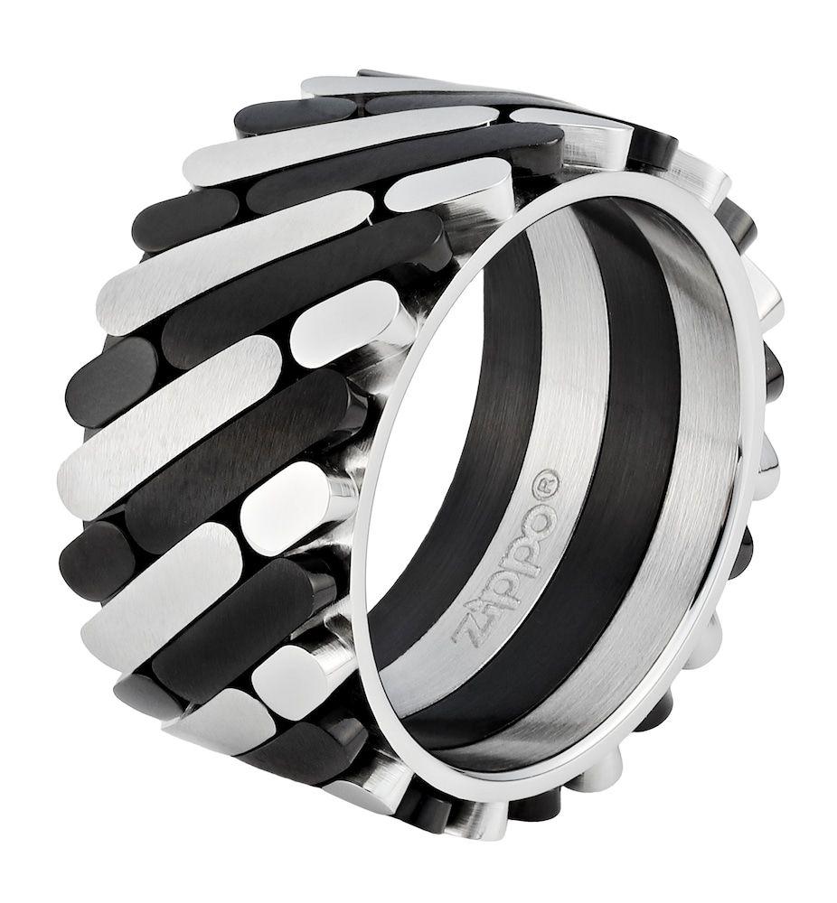 ZIPPO Ring Farbmix Herren, Schwarz / Silber, Größe 56 #zippo