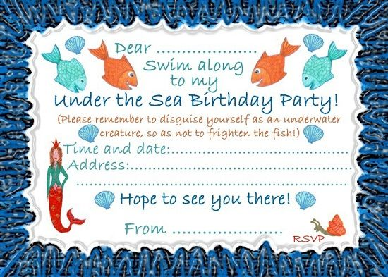 Under The Sea Birthday Invitations Ideas For James