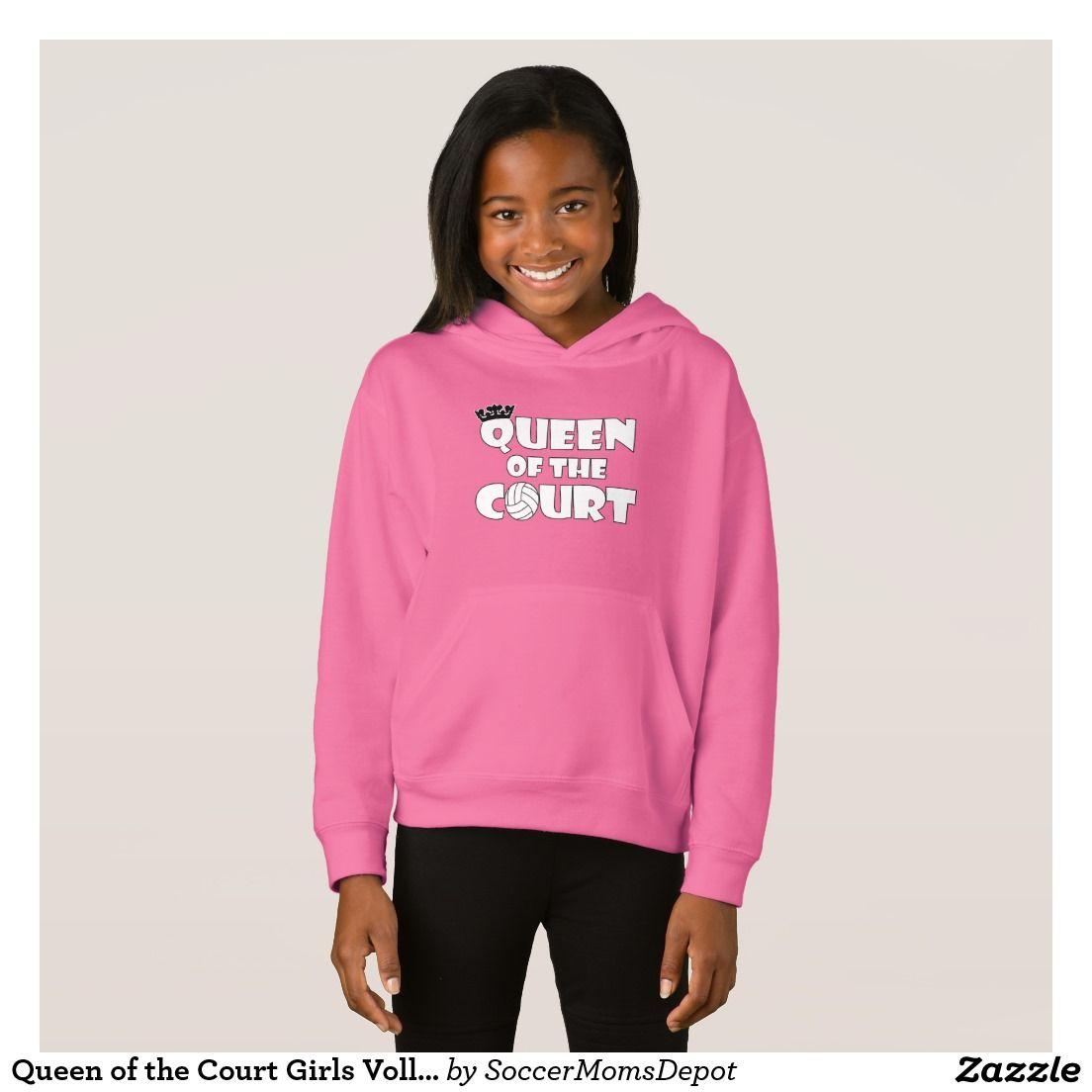Queen Of The Court Girls Volleyball Sweatshirt Volleyball Hoodie Girl Graphic Hoodies Sweatshirts Hoodie