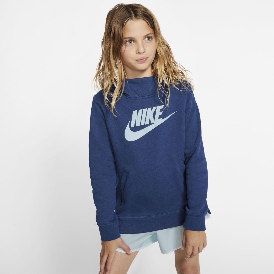 Nike Sportswear Girls Pullover Hoodie Blue Void Nike Pullover Hoodie Nike Pullover Sporty Hoodie [ 1080 x 1080 Pixel ]