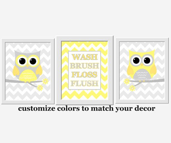 Kids Bath Wall Art Yellow Gray Owl Wall Decor Wash Brush Floss Flush ...
