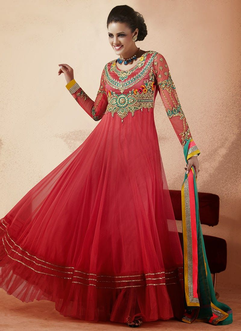 09249b2731 New Indian Fashion Long Shirt Anarkali Dresses for Girls 2014-2015 Fancy  Embroidered Collection (22)