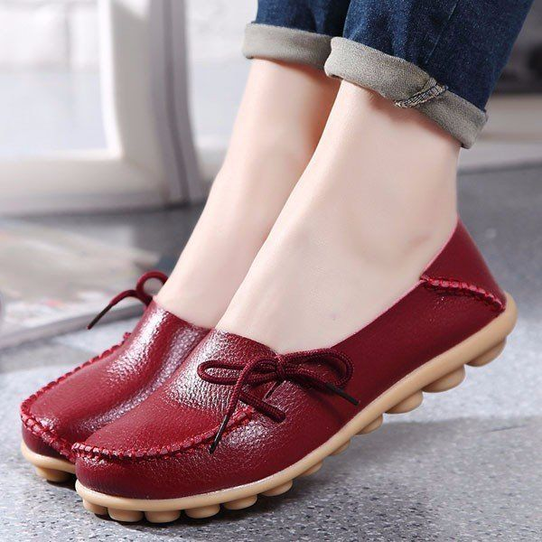 1487 Big Size Pure Color Slip On Lace Up Soft Sole Comfortable Flat  Loafers