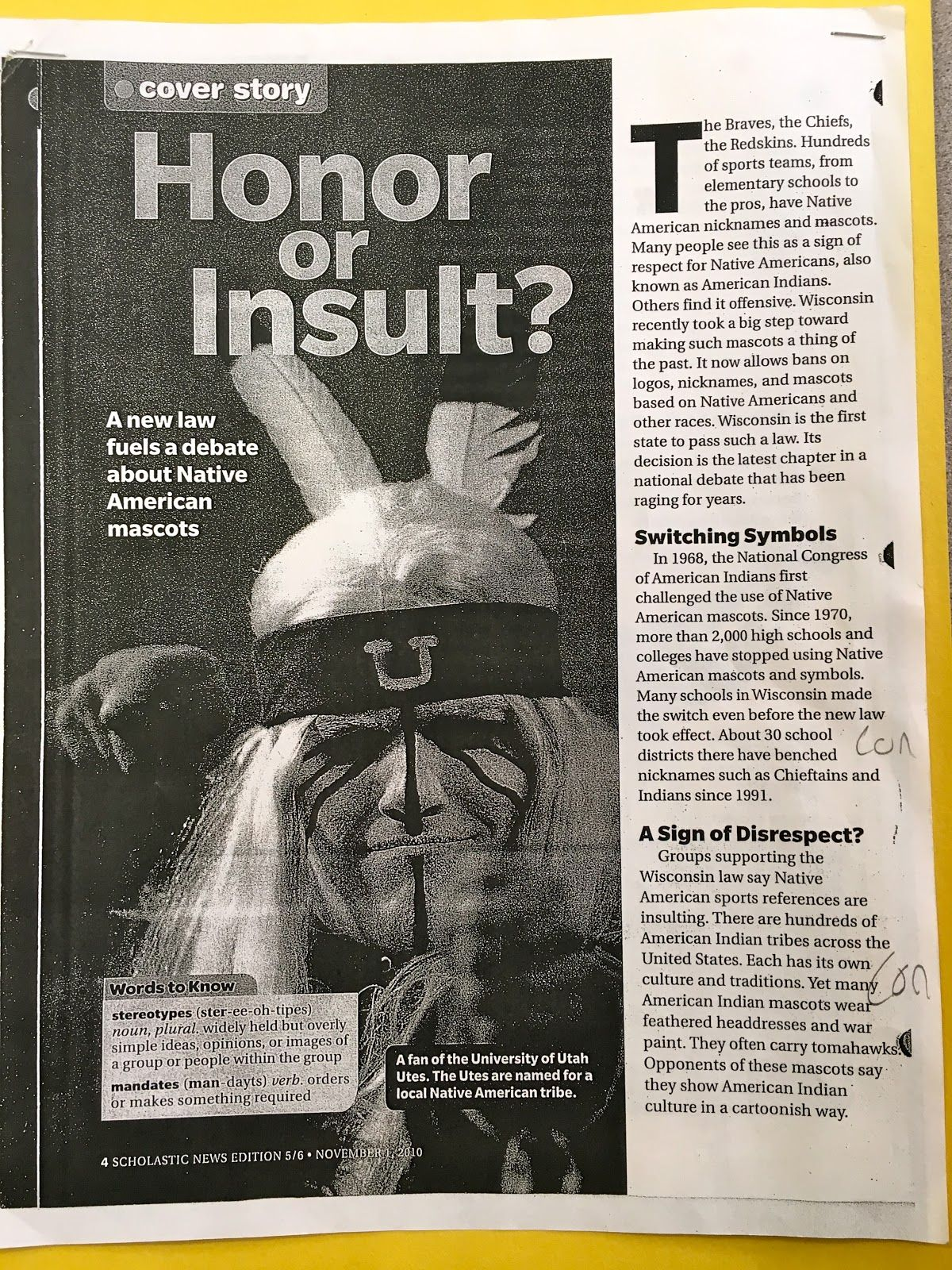 Persuasive Writing Are Native American Mascots And Insult