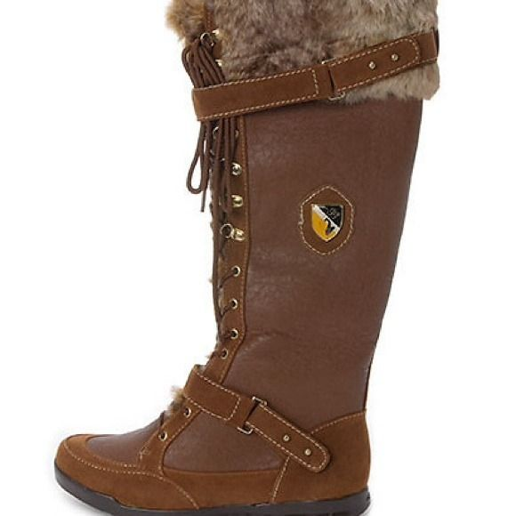 Brown boots with faux fur Brown baby phat boots with faux fur. One boot is missing a baby phat symbol and the another has stitching that came undone. It can be easily stitched back together Baby Phat Shoes