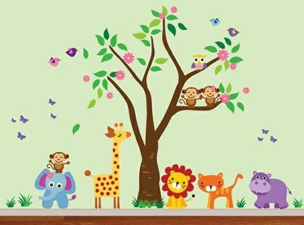 Babyzimmer Wandgestaltung 15 Wanddeko Ideen Mit Tieren Kindergarten Wandtattoos Spielzimmer Kinderzimmer Babyzimmer Wandgestaltung