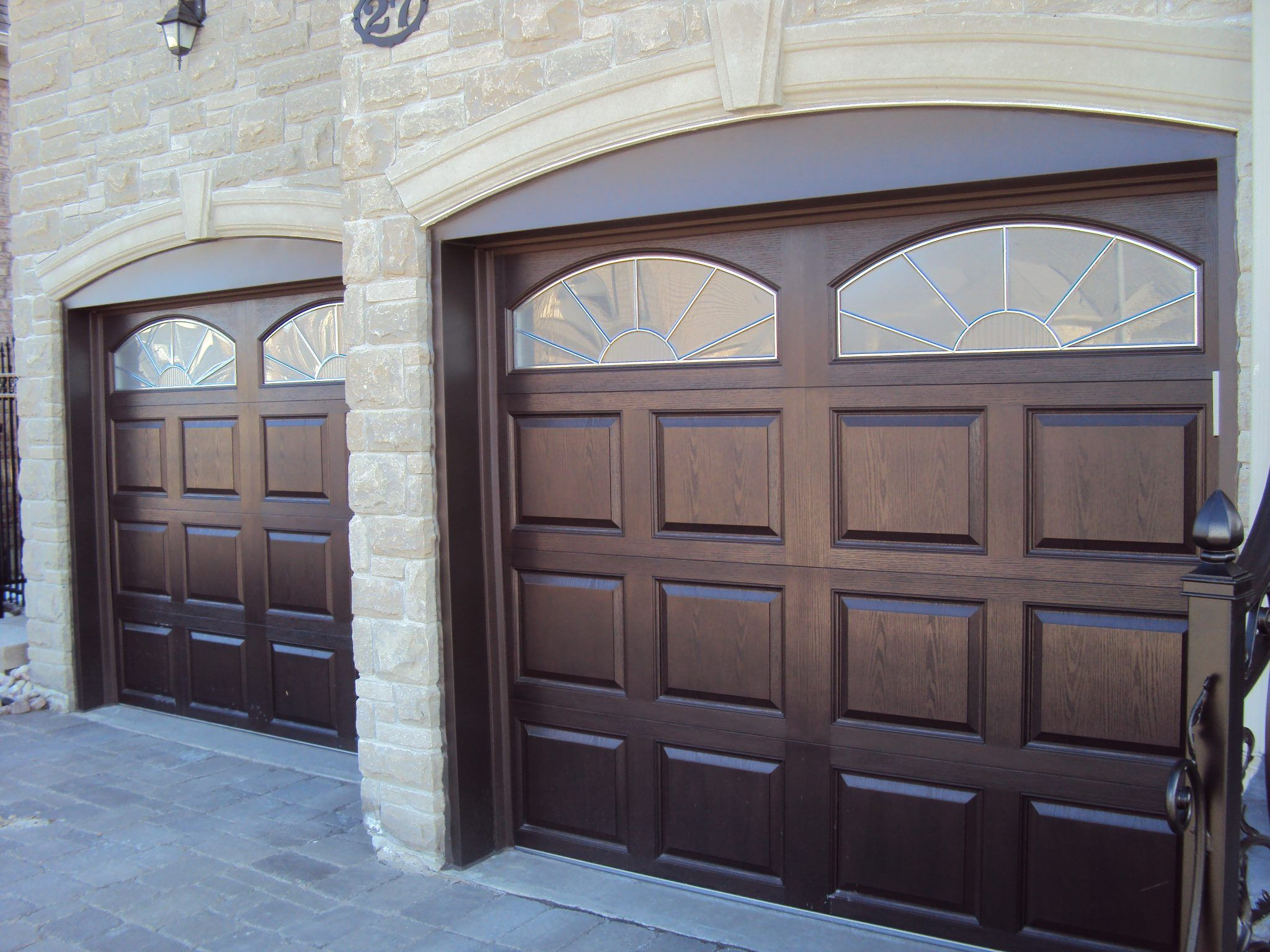 dependable installation photos in fiberglass these panel available curb madison of dalton appeal wi wayne highlight horizontial door sectional garage walnut doors through the