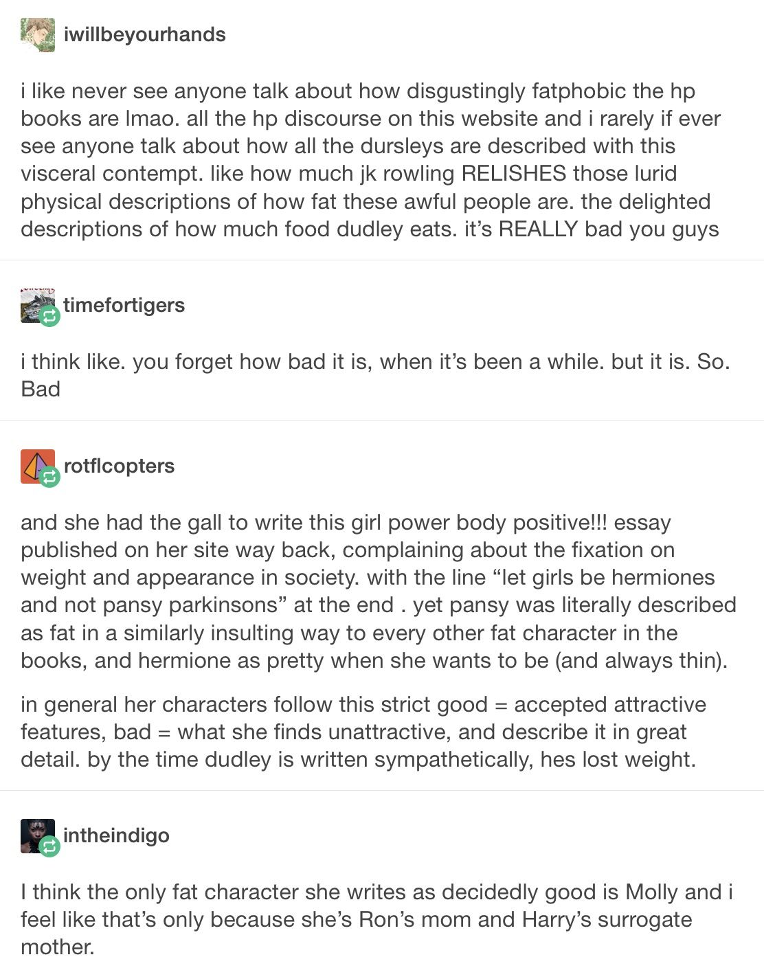 jk rowling  harry potter  hp  fatphobia  fatbigotry  feminism