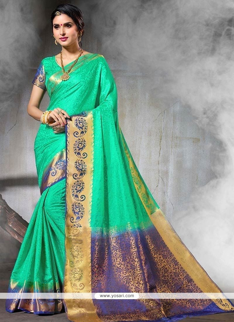 4874c22118e376 Order this delectable weaving work designer traditional saree. Traditional  Sarees, Green Art, Buy Sarees Online, Green Silk, Indian Ethnic Wear