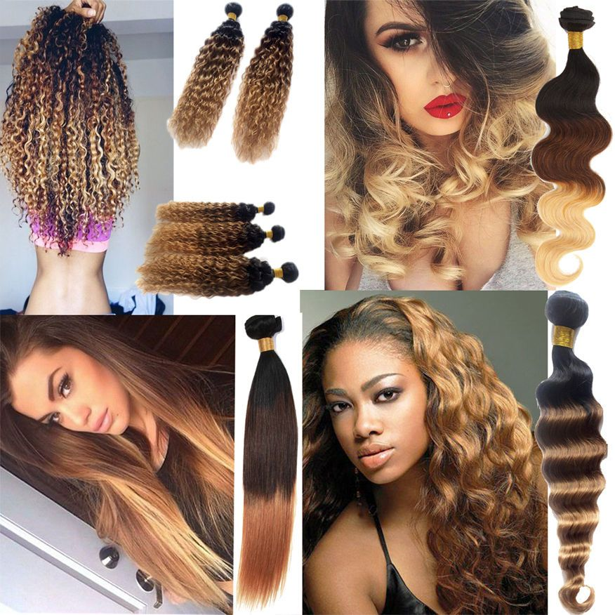New Ombre Brazilian Real Human Hair Extensions Body Wave 3 Tone Hair