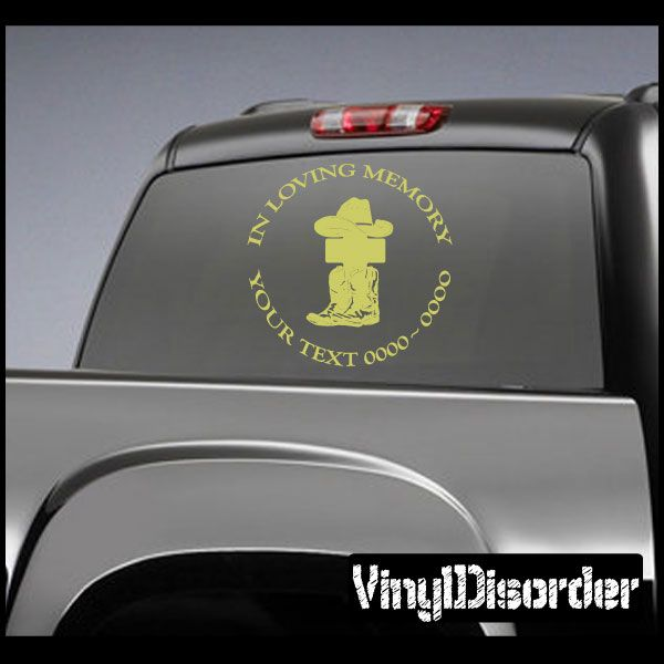 Cowboy In Loving Memory Custom Car Or Wall Vinyl Decal Stickers - Cowboy custom vinyl decals for trucks