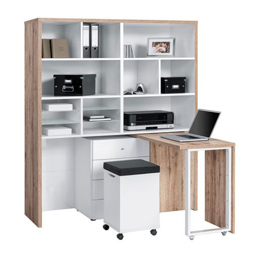 home office work station. An All In One Mini Home Office Compact Multi Workstation Oak White Finish. From The Maja Work Centre Collection. Station