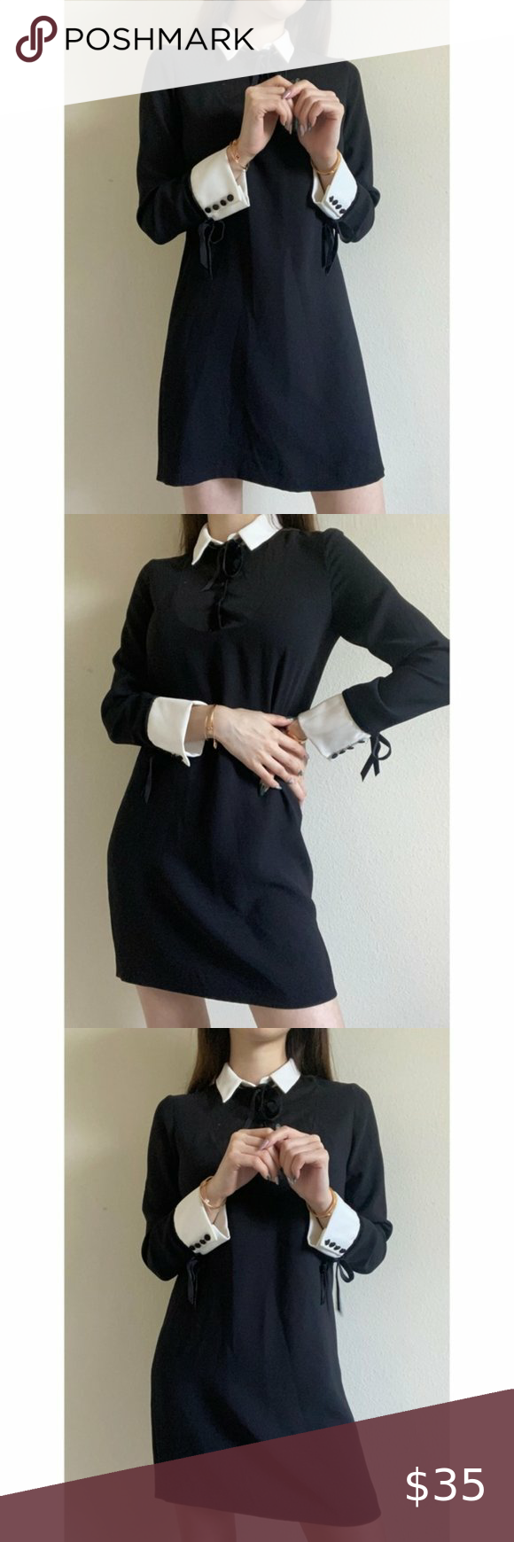 Zara Black Long Sleeve White Collar Mini Dress White Long Sleeve Womens Black Dress Black Long Sleeve [ 1740 x 580 Pixel ]