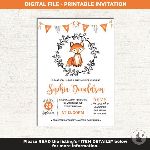 FOX BABY SHOWER Invitation Woodland Invitation Baby Boy Girl