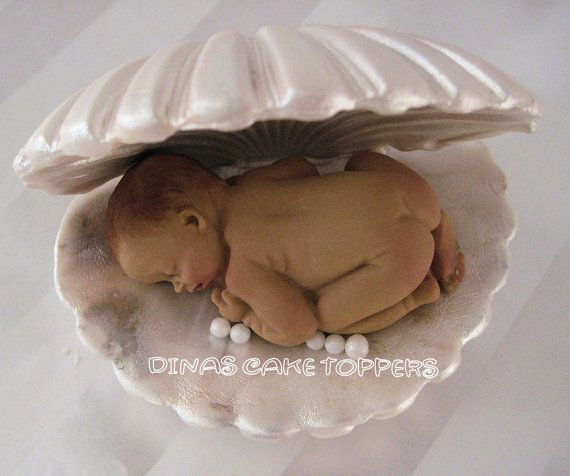 Clam Pearl Baby Cake Topper Sea Baby Shower By Dinascaketoppers 35 00 Baby Pearls Baby Cake Topper Sea Baby Shower