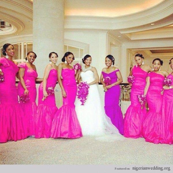 African American Pink Wedding Nigerian Wedding Fun Girly Fuchsia Pink Bridesmaids Dresses Styles Bridesmaid Fuchsia Wedding Bridesmaid Dress Styles