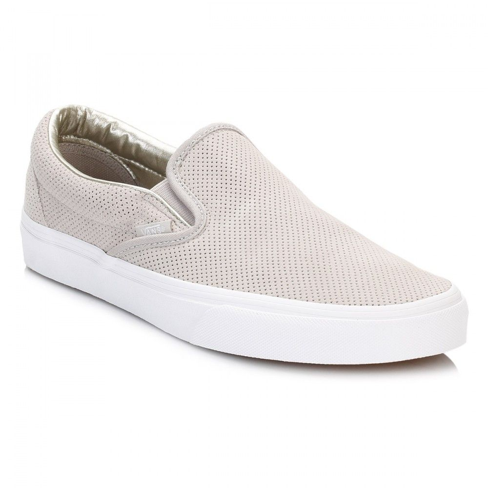 Vans Womens Silver Cloud/True White Perforated Suede Classic Slip On  Trainers…