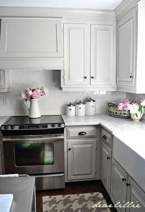 Light Gray Painted Kitchen Cabinets. | Kitchen idea | Pinterest ...