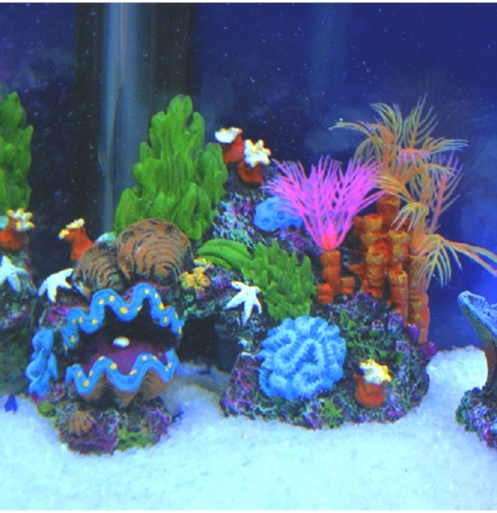 Colorful Artificial Sea Coral Reef Resin Ornament For Fish Tank
