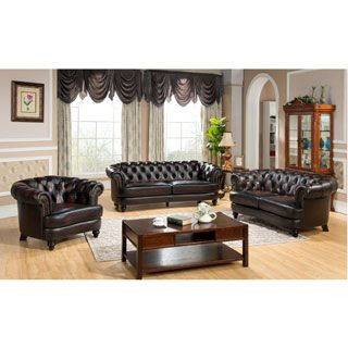 Shop for Moore Tufted Brown Chesterfield Top Grain Leather Sofa