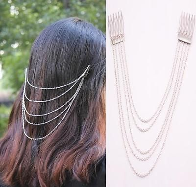 P1047-Silver-Metal-Chain-Fringe-Tassel-Hair-Comb-Cuff-Women-Head-Hairband