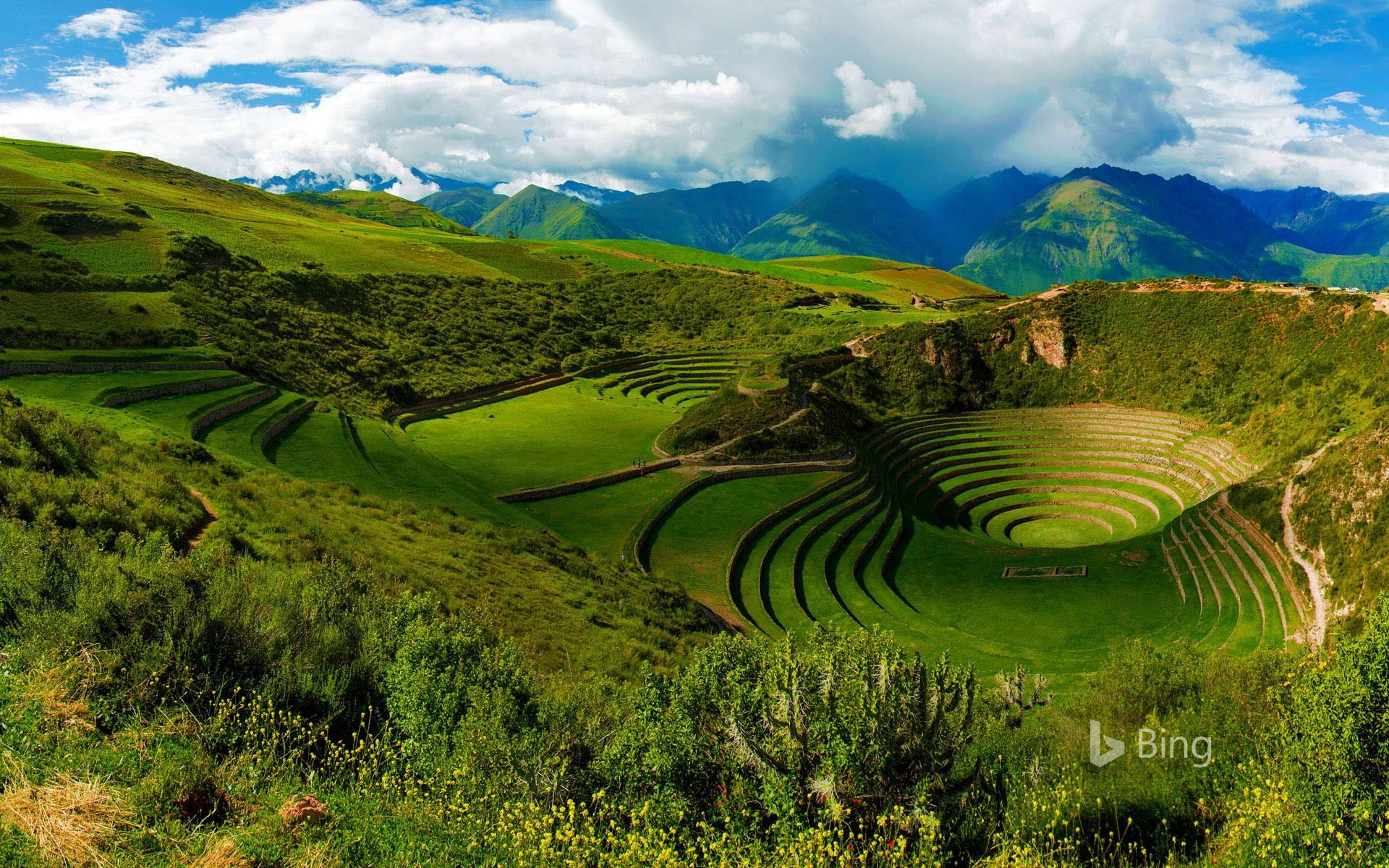 The ancient Inca civilization terraced these deep depressions in the hills near Maras, Peru. Temperature variations between levels and a complex irrigation system suggest the Incans were performing climate experiments on crops.