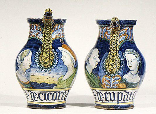 Pair Of Pharmacy Jars Workshop Of Pompei Date Ca 1530 Culture Italian Castelli Medium Maio Italian Pottery Italian Majolica Italian Ceramics