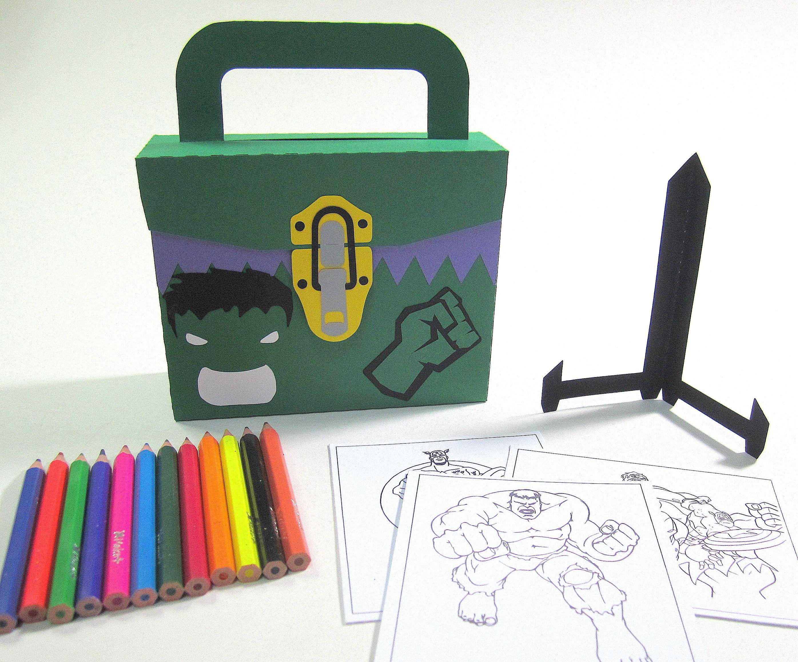 Maletinha Hulk com Kit Pintura, feita em papel especial 180 g ...