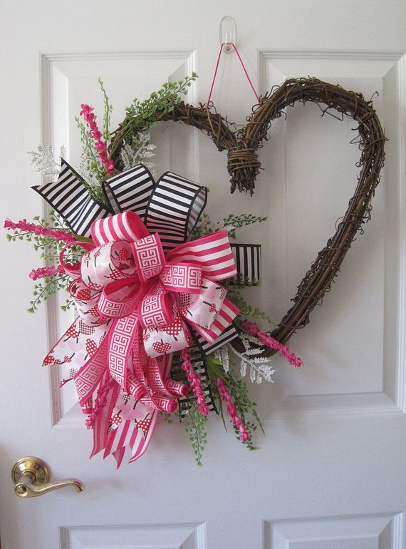 Valentine Door Wreath Heart Shaped Grapevine Wreath Valentines Day Decorations Valentine Decorations Valentine Wreath