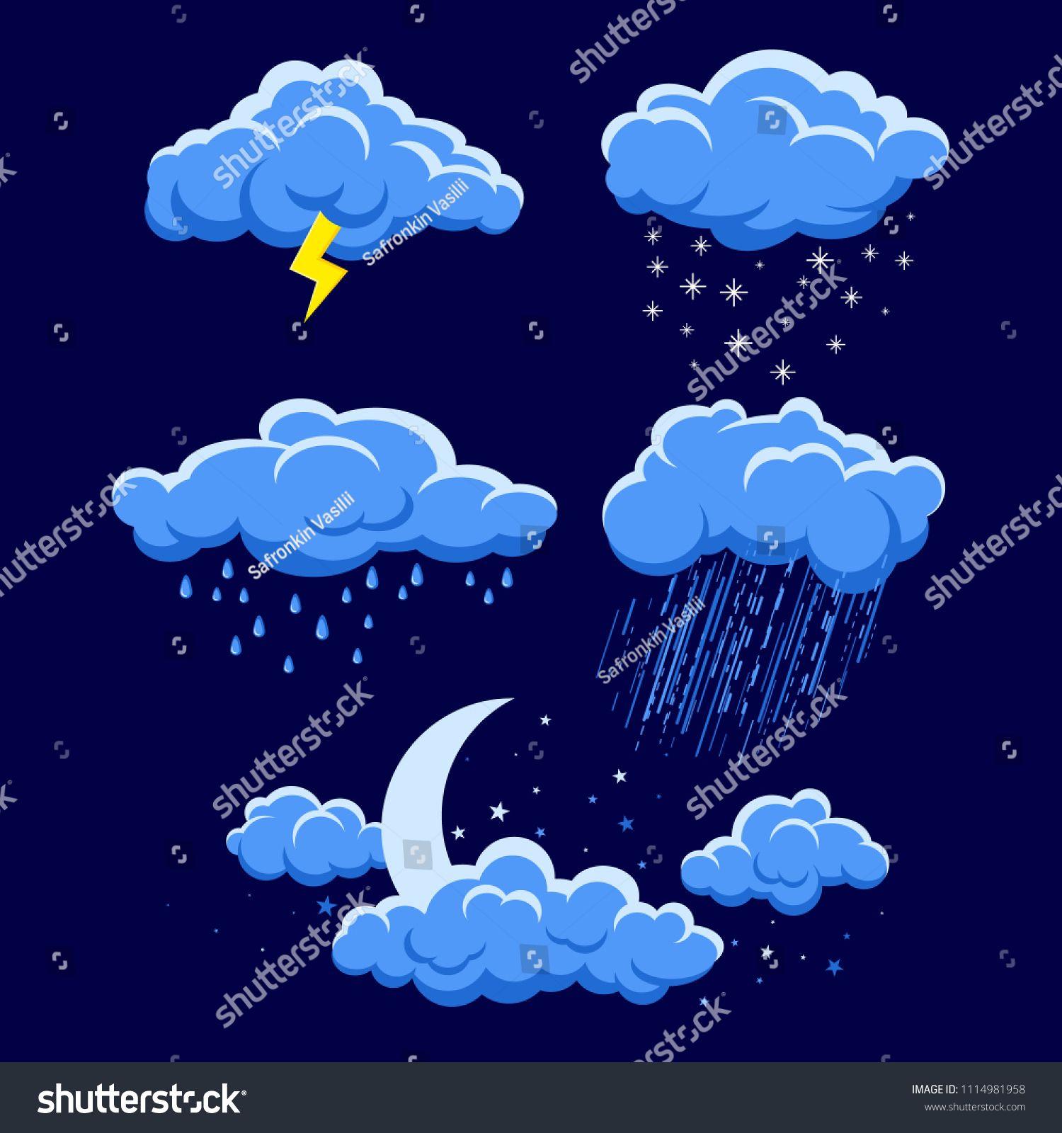 Set Of Cartoon Clouds On Dark Blue Night Sky Illustration Of Different Weather Rain Storm Lightning Snow M Cartoon Clouds Night Clouds Cloud Illustration
