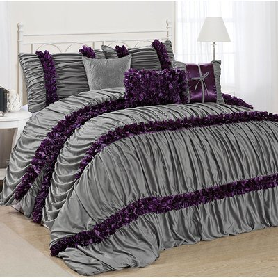 7 Piece BRISE Double Color Classic Ruffled Comforter Set-Queen King CalKing Size