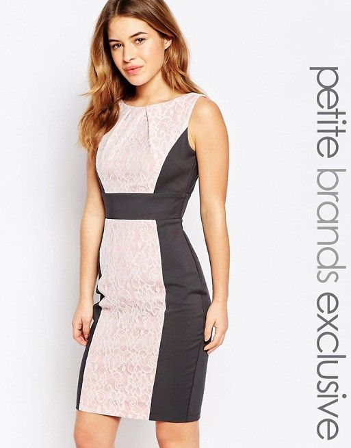 Paper Dolls Petite | Paper Dolls Petite Lace Insert Pencil Dress With Bow Detail