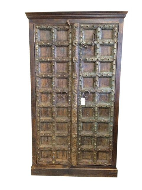 Double Door Cabinet Armoires Carved Wood India Antique
