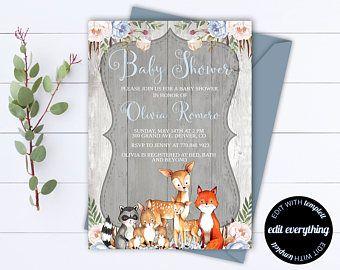 Rustic Baby Shower Invitation Template   Boy Baby Shower Invite   Woodland  Animal Baby Shower Template