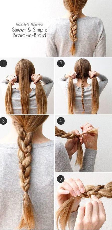 Simple Braided Hairstyles Pinmarial Morales On Peinados  Pinterest  Simple Braids Hair