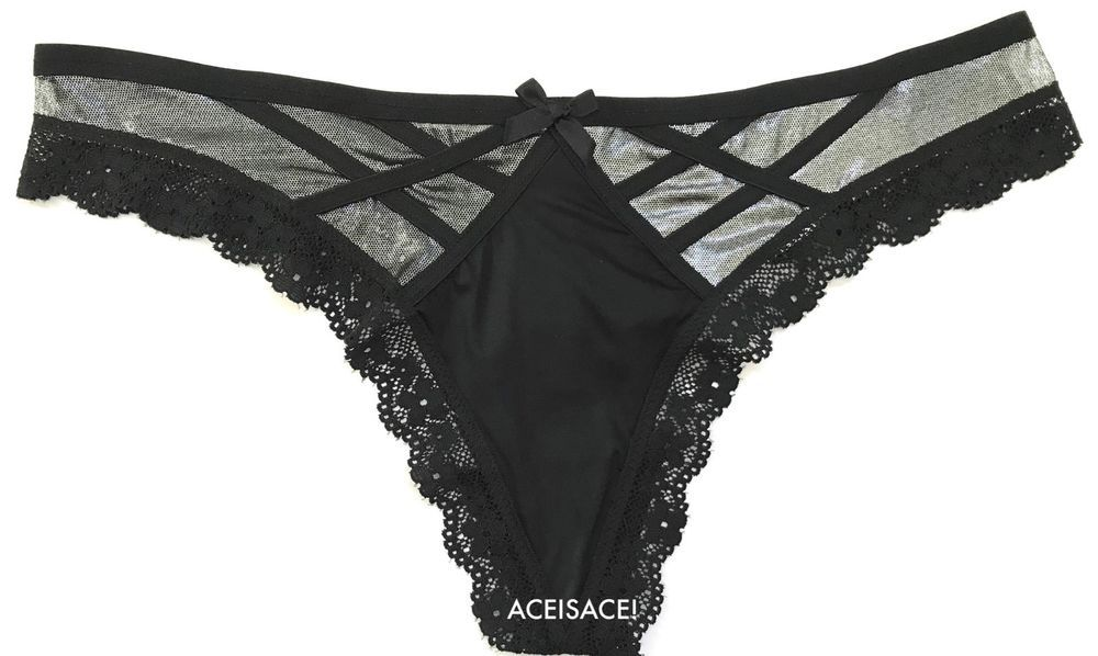 17d0df8f2c NWT   VICTORIA S SECRET VERY SEXY SHINE STRAPPY THONG--FROSTED BLACK  SILVER--M M  VictoriasSecret  THONGSTRING  Everyday