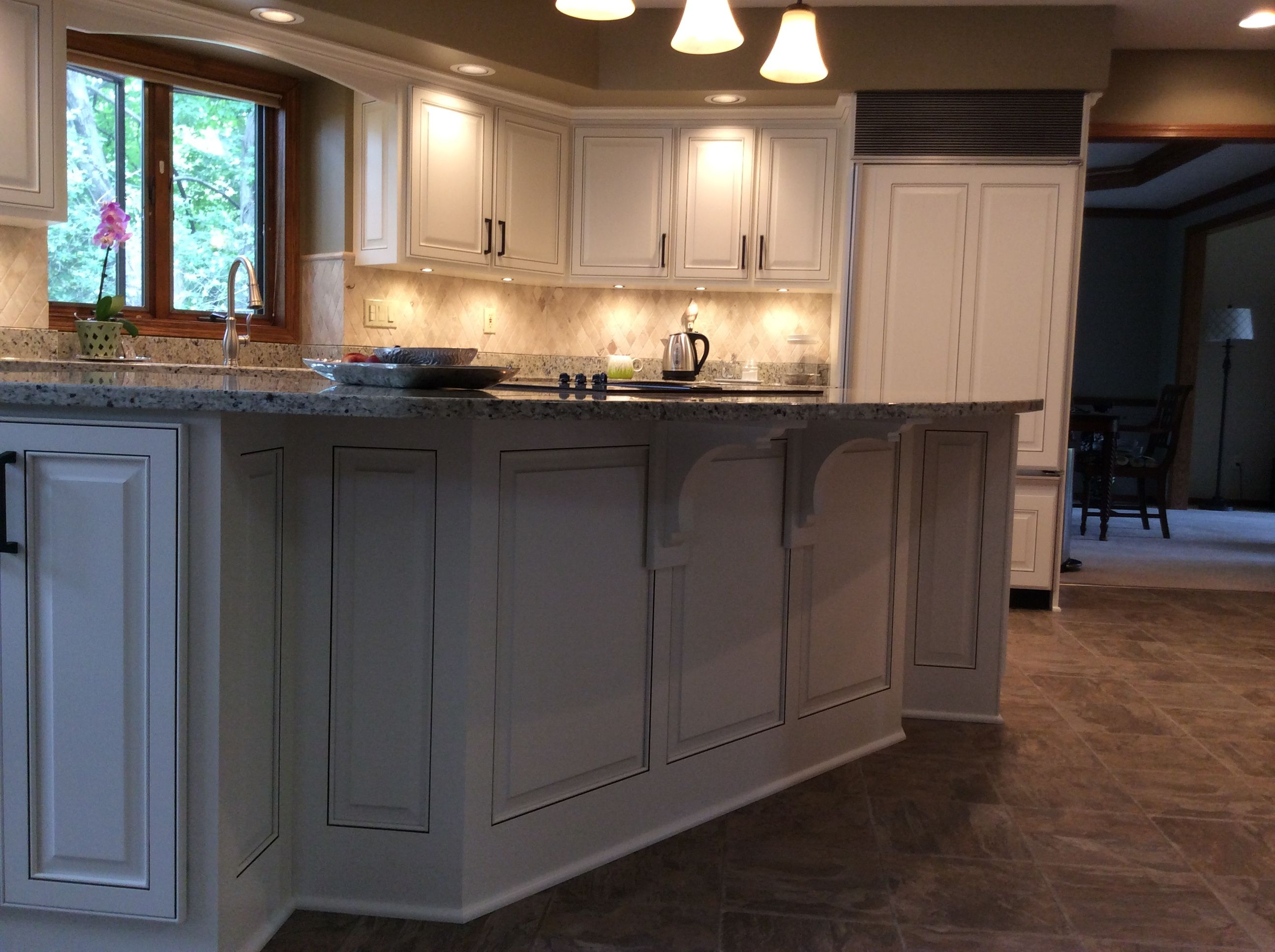 Custom Panels On Island American Wood Reface Parchment Color Finish Kitchen Remodel Kitchen Reface