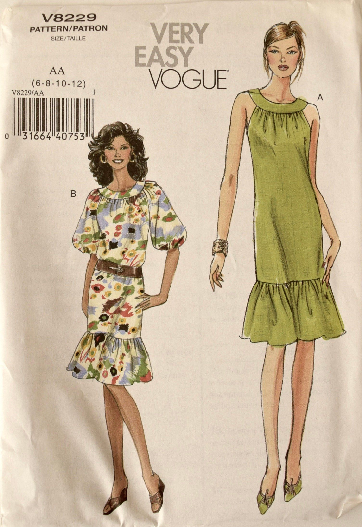 Very Easy Vogue V8229 Sewing Pattern Misses Dress With Gathered