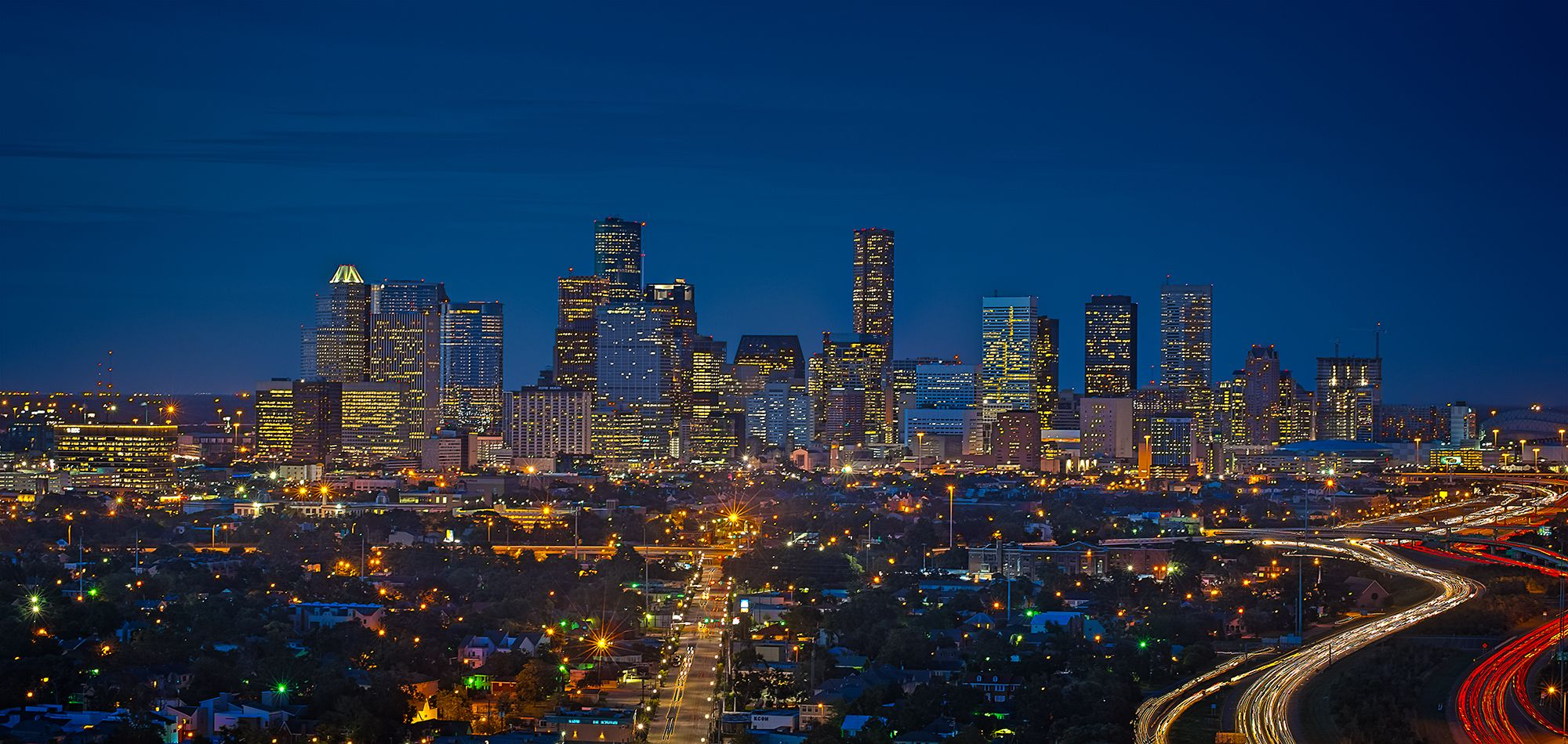 Houston Night Skyline Houston skyline, Night skyline