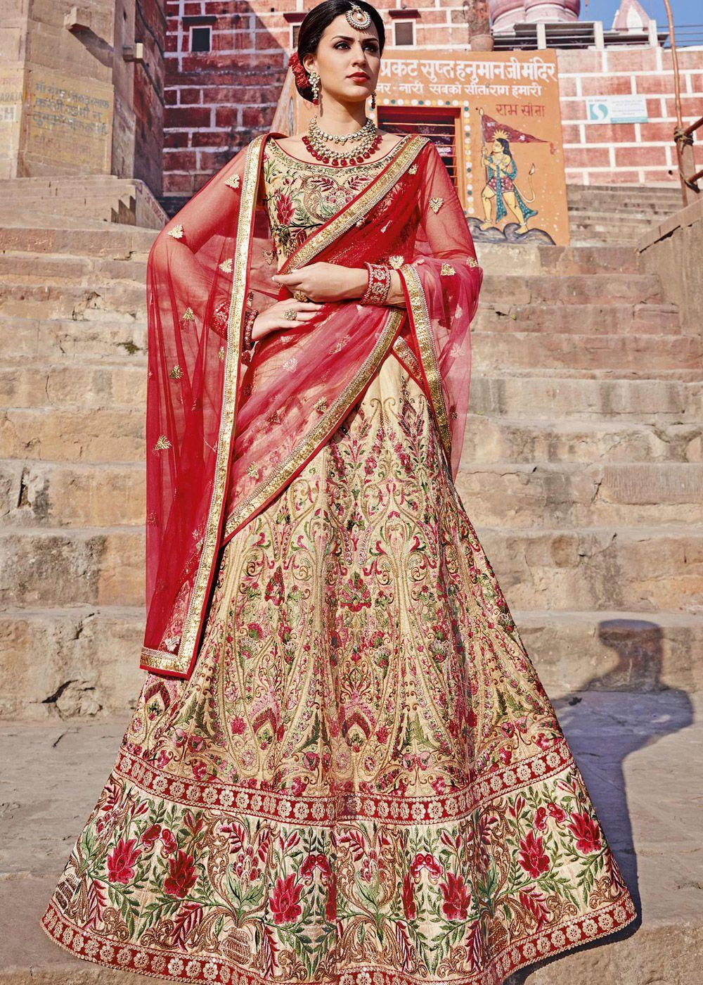 c0cc1fe1b9 Panash Lehenga - Buy Beige Art Silk Designer Lehenga Choli online, Work:  Embroidered,