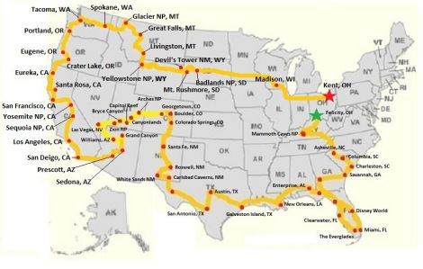 USA Road trip map. I would add on a route towards the Northeast and ...