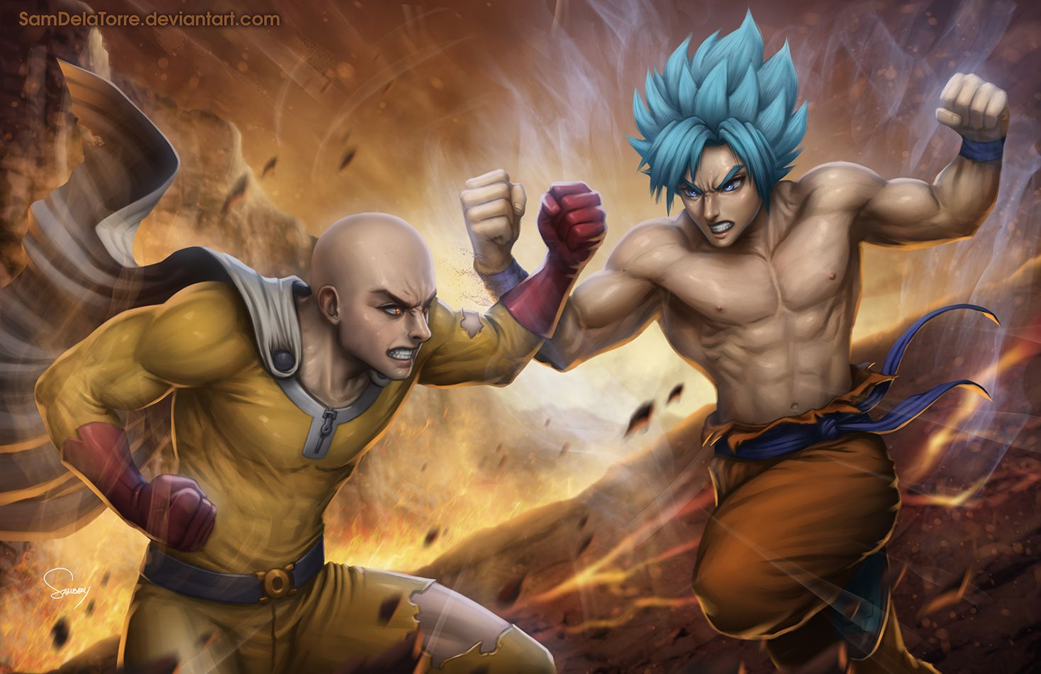 Image result for Saitama vs goku pinterest