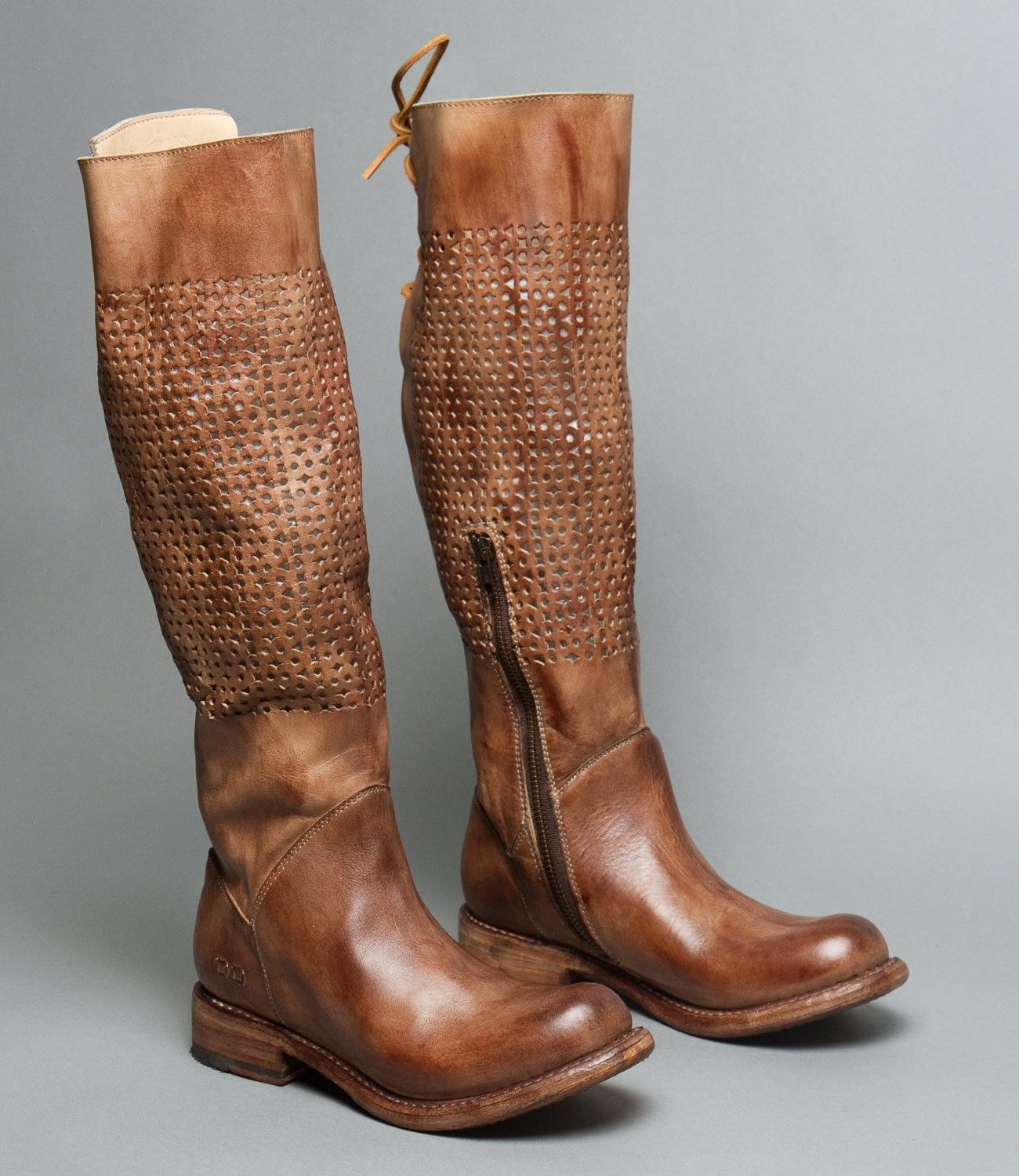 CAMBRIDGE TAN DRIFTWOOD Wide Calf Upper Back Lace Up Tall Boot