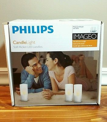 Philips Imageo Led Candle Soft Flicker Light Mood Lamp 3ea