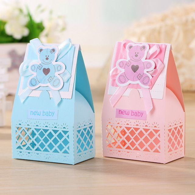 Boxes For Baby Shower Favors: Aliexpress Buy Pink And Blue Cute Baby Favors Boxes
