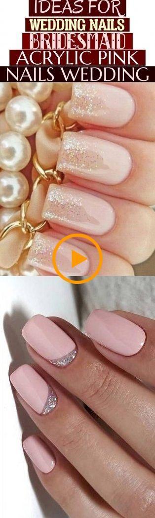 Idées pour les ongles de mariage demoiselle d'honneur acrylique rose ongles mariage