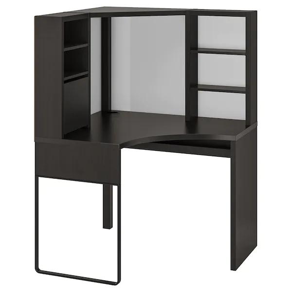 Micke Corner Workstation Black Brown 39 3 8x55 7 8 Ikea In 2020 Corner Workstation Ikea Micke Loft Bed Frame